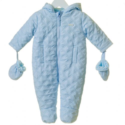 Boys Blue Hooded Snowsuit with Mittens
